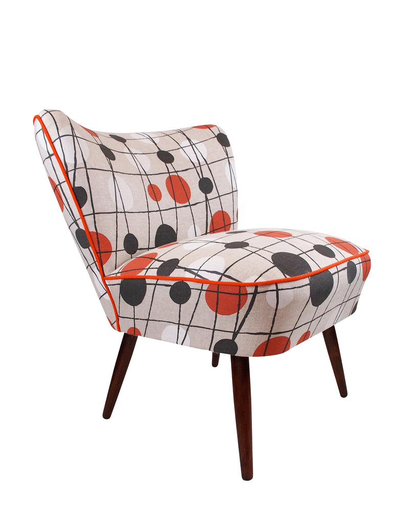 Galapagos Bartholomew vintage cocktail chair in Mini Moderns' harvest orange Pavillion fabric
