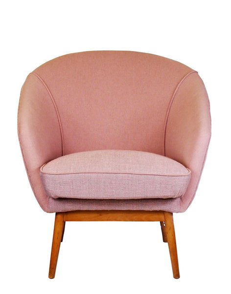 Galapagos Bespoke Midcentury Daphne Chairs in Designers Guild Pale Rose Pink