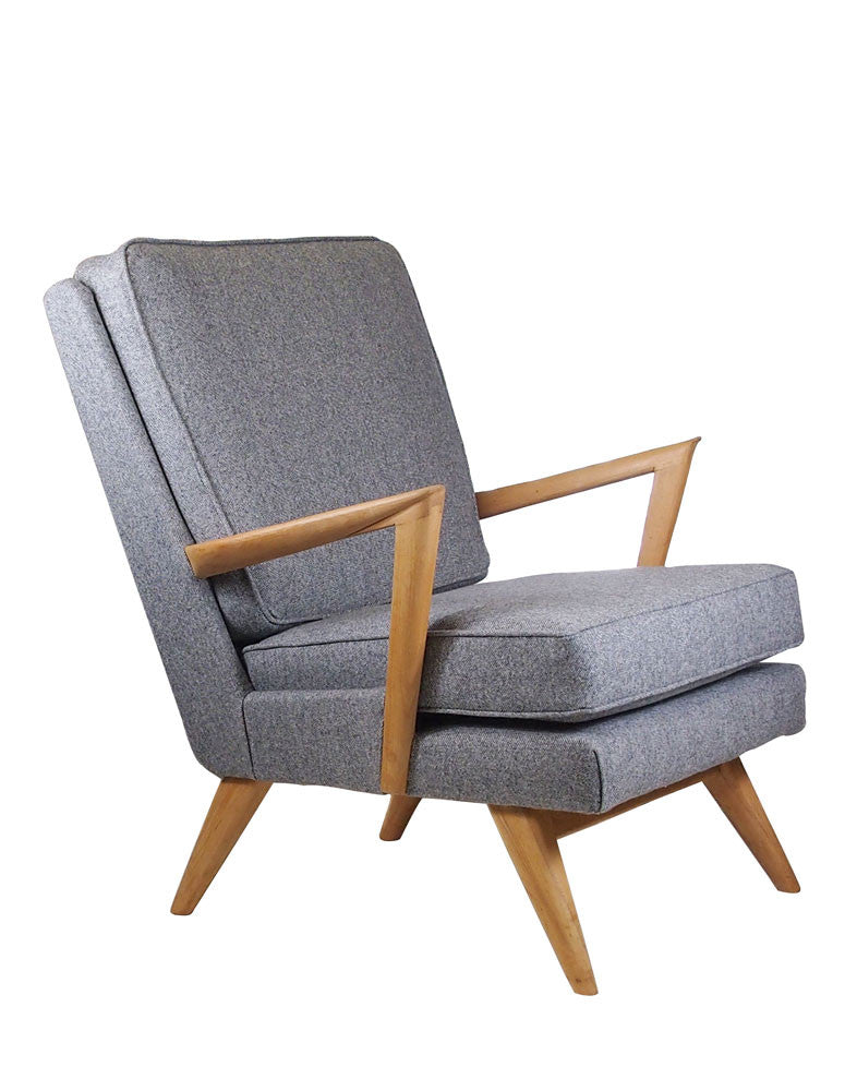 Galapagos Bespoke Vintage Midcentury Wingback Chair in Grey Herringbone