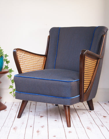 Bespoke Midcentury Armchair in Denim & Velvet