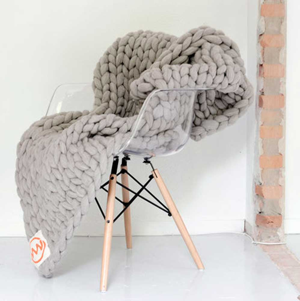 Handmade Oversized Knitted Throw in Concrete Grey