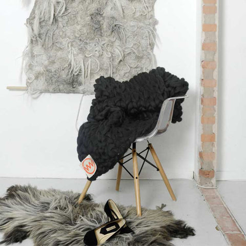 Handmade Oversized Knitted Throw in Deep Black