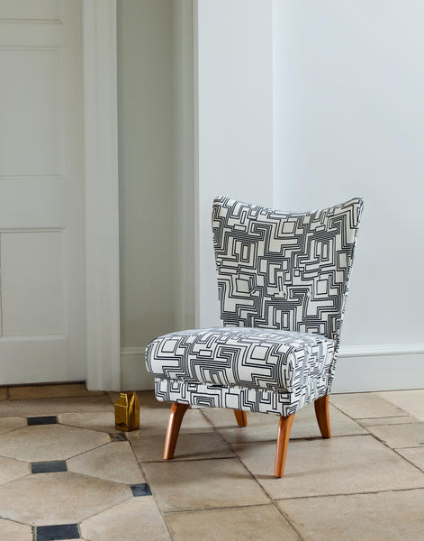 Encore Armchair in Electro Maze Monochrome available at GalapagosDesigns.com
