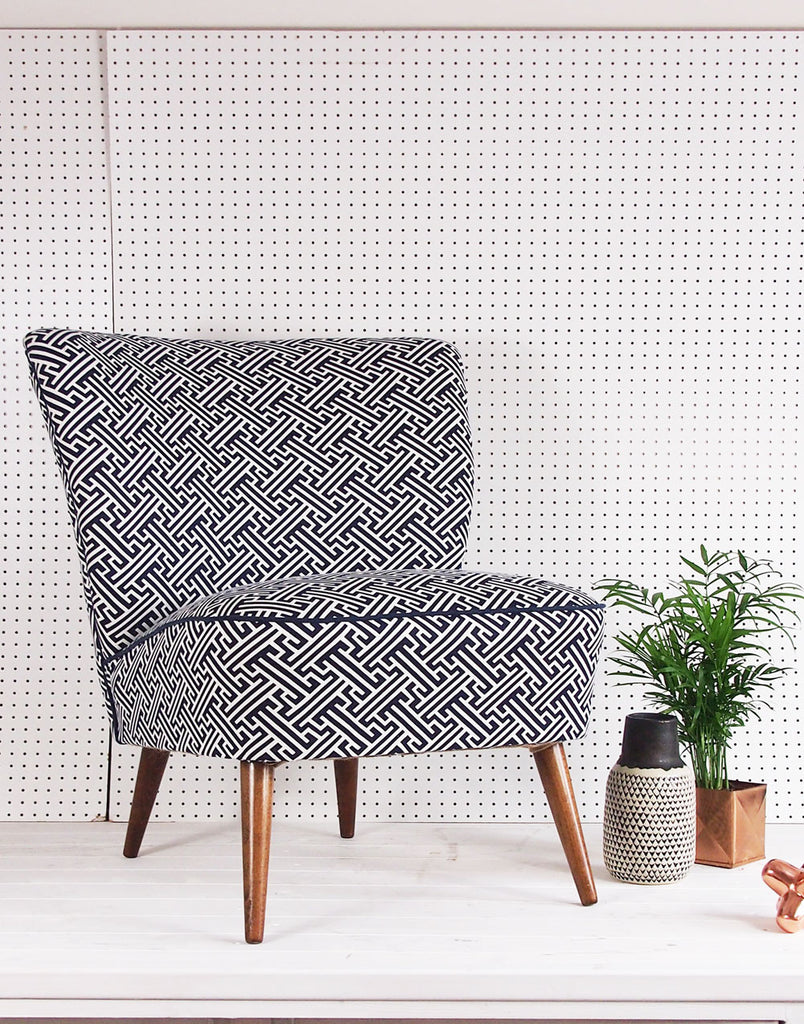 Galapagos Bartholomew Chair in Bhutan Lattice in Navy