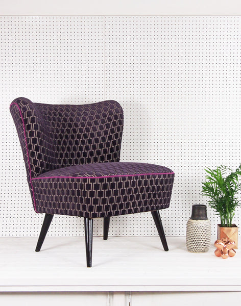 Galapagos Bartholomew Chair in Blackberry Bakerloo Velvet