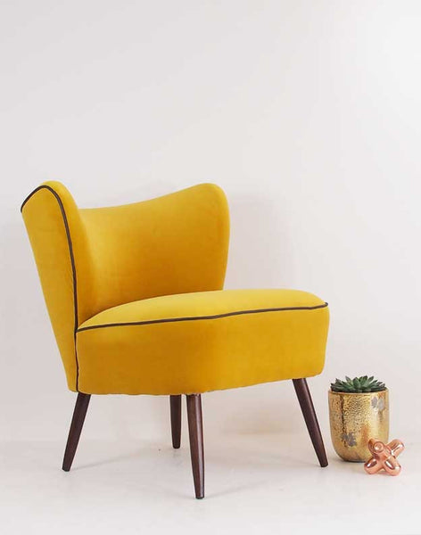 The New Bartholomew Cocktail Chair in Yellow Velvet available at GalapagosDesigns.com