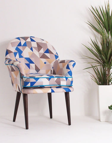 Midcentury Made Modern - The Beck Occasional Chair in Blue Rocquaine