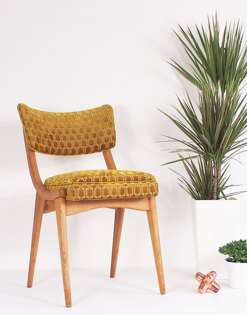 The Darwin Chair in Bakerloo Gold Velvet
