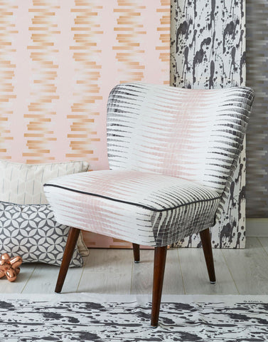 The Bartholomew Original Vintage Cocktail Chair in Alana Chalk Pink & Steel Grey