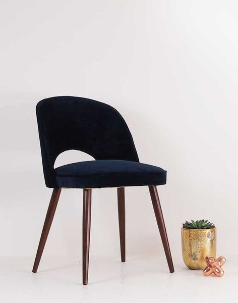 The New Fernandina Desk and Dining Chair in Luxe Midnight Blue Velvet