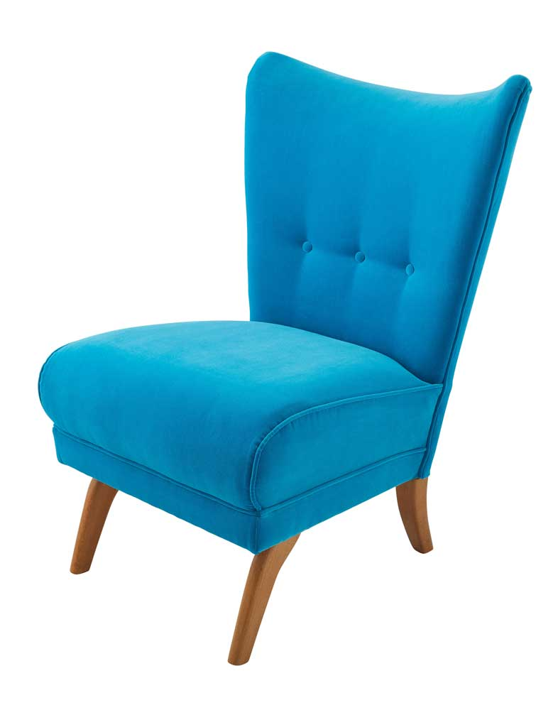 Encore Armchair in Tropical Blue Omega Velvet