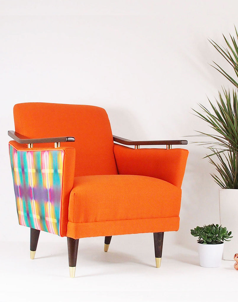 MidCentury Made Modern - The Pinzon Armchair in Orange Bute Skye & Neon Lights