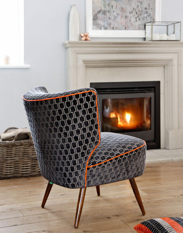 The Bartholomew Vintage Cocktail Chair in Eclipse Grey Bakerloo Velvet