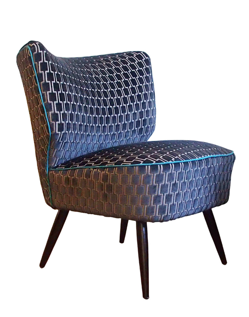 Galapagos Bartholomew Chair in Eclipse Grey Bakerloo Velvet with Teal Piping