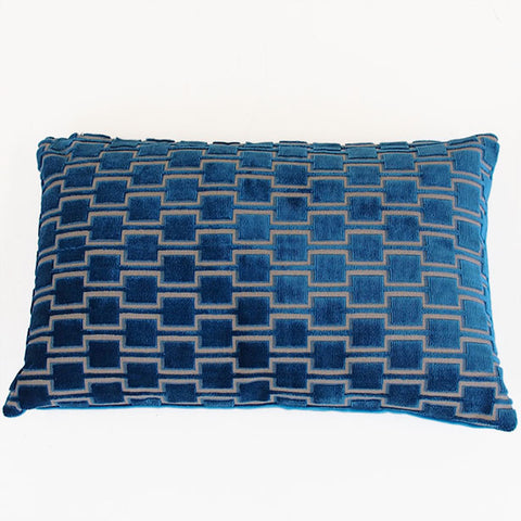 Bakerloo Kingfisher Teal Velvet Cushion