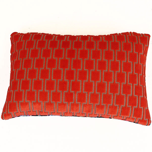 Bakerloo Neon Orange and Fierce Beauty Velvet Cushion available at GalapagosDesigns.com