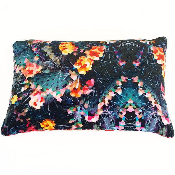 Fierce Beauty and Bakerloo Neon Orange Velvet Cushion available at GalapagosDesigns.com