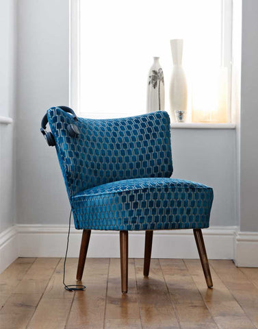 Vintage Bartholomew Cocktail Chair in Teal Bakerloo Velvet