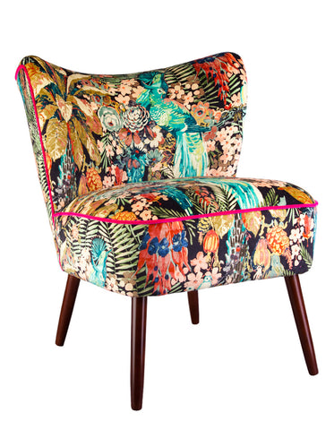 Bespoke Bartholomew Vintage Style Cocktail Chair in Rainforest Rabble Velvet