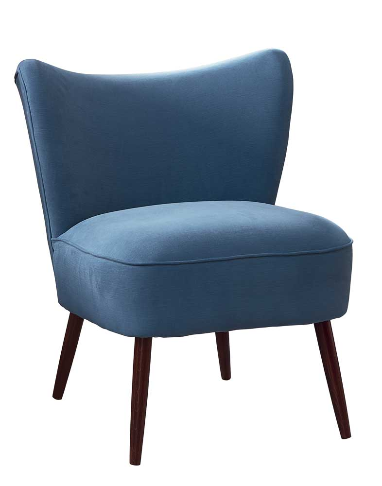 New Bartholomew Cocktail Chair in Quinto Smokey Blue Cotton