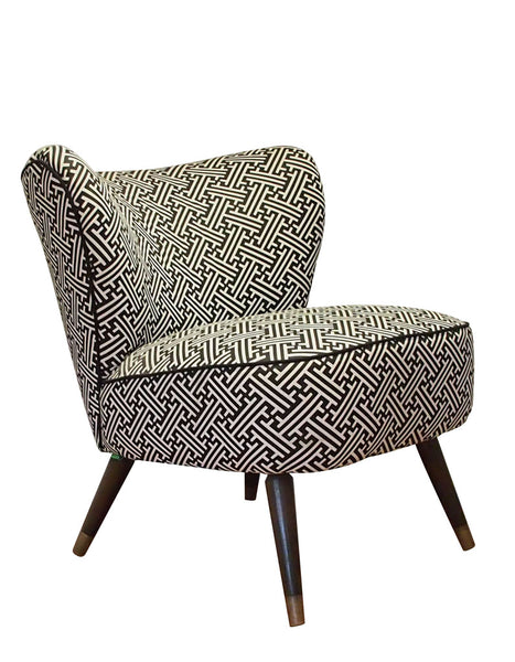New Bartholomew Vintage Style Cocktail Chair in Bhutan Lattice Reverse II Noir (Black)