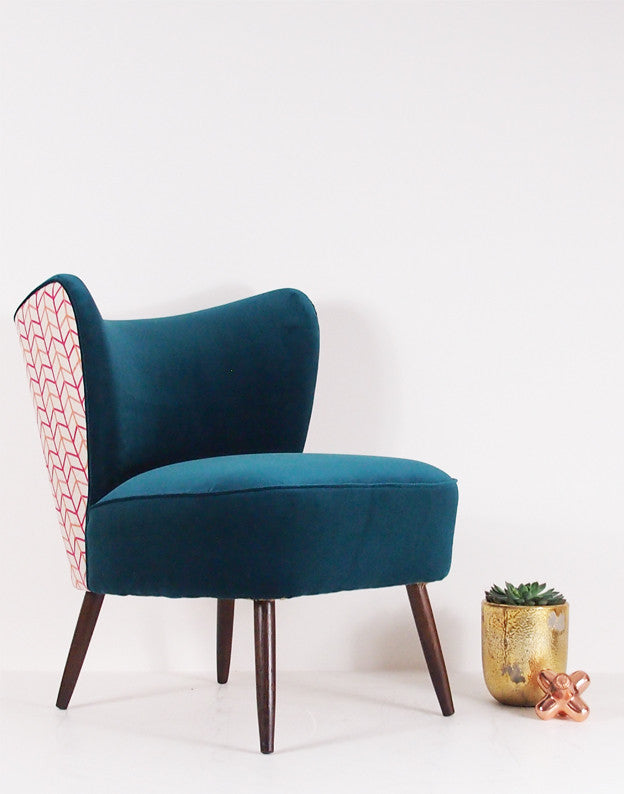 New Bartholomew Vintage Style Cocktail Chair in Teal Velvet