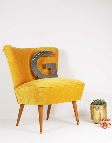 The Bartholomew Cocktail Chair in Dandelion Yellow Velvet