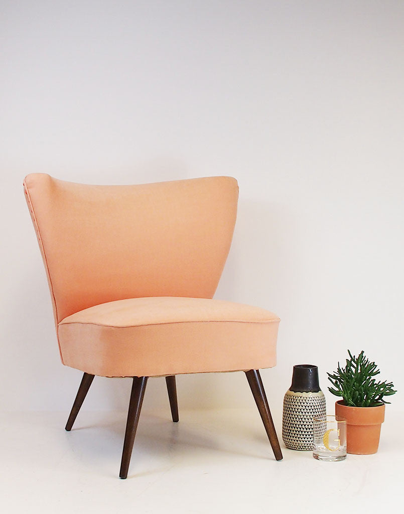 Simple Pleasures Bartholomew Vintage Cocktail Chair in Peach available at GalapagosDesigns.com