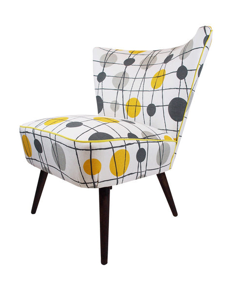 Galapagos Bartholomew vintage cocktail chair in Mini Moderns' mustard yellow Pavillion fabric