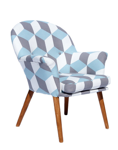 New Beck Chair in Cubes Angel Blue