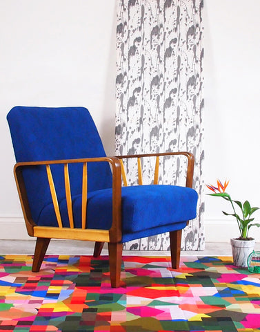 Midcentury Original Armchair in Razzle Dazzle Deep Blue