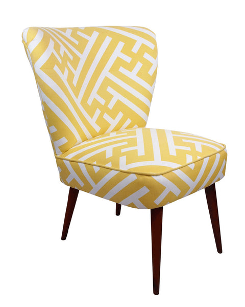 The New Genovesa Cocktail Chair in Korla Grand Bhutan Lattice Citron with Yellow Pipping - Available at GalapagosDesigns.com