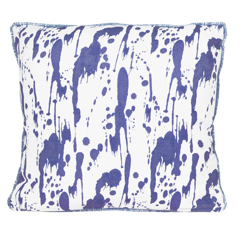 Ink Blue Splatter Cushion by Korla