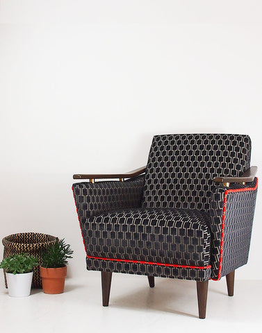 The New Pinzon Armchair in Kirkby Design Bakerloo Velvet