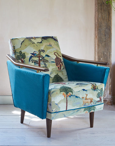 The New Pinzon Armchair in Linwood Fable Aesop and Omega Velvet
