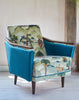 The New Pinzon Armchair in Linwood Fable Aesop and Omega Velvet available at GalapagosDesigns.com