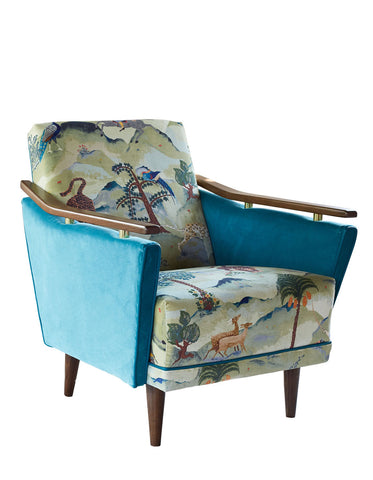 New Pinzon Armchair in Linwood Fable Aesop and Omega Velvet