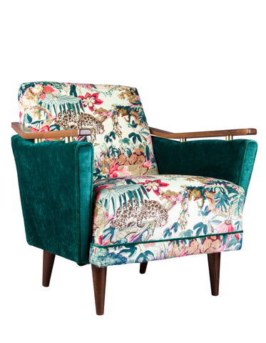 New Pinzon Armchair in Jungle Rumble Velvet