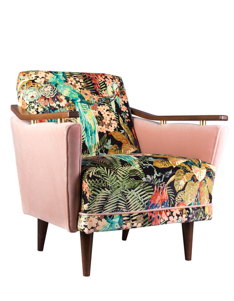 New Pinzon Armchair in Rainforest Rabble Velvet