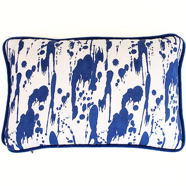 Splatter Ink Blue and Navy Twill Cushion available at GalapagosDesigns.com