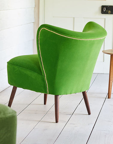 New Bartholomew Vintage Style Cocktail Chair in Linwood Baize Green Omega Velvet