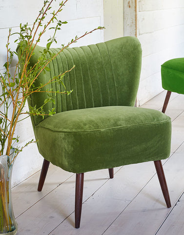 The New Bartholomew Cocktail Chair in Linwood Grass Omega Velvet