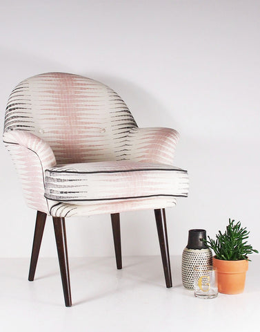 New Beck Vintage Style Armchair in Alana Chalk Pink and Steel Grey