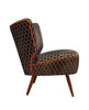 Galapagos Bartholomew Chair in Eclipse Grey Bakerloo Velvet with Neon Orange Piping