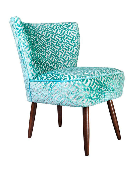 New Genovesa Cocktail Chair in Dufrene Aqua Blue Velvet