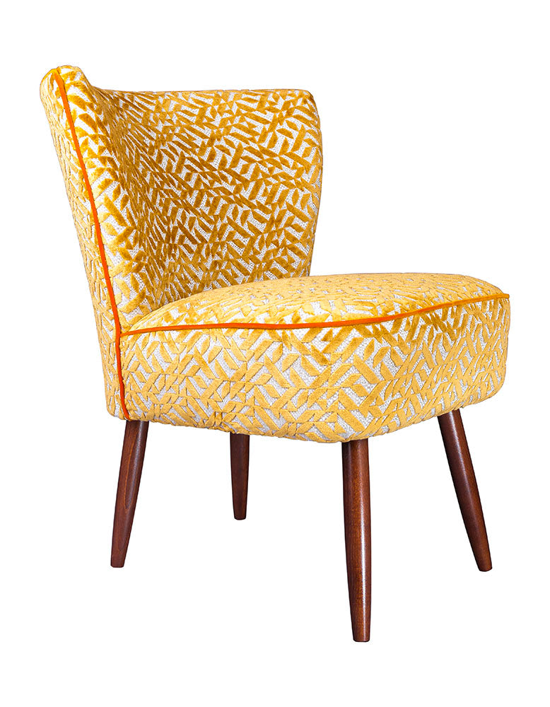 New Genovesa Cocktail Chair in Dufrene Saffron Orange Velvet