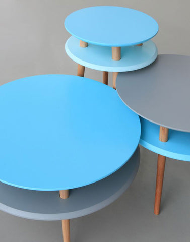 Kawa Coffee Tables in Light & Dark Turquoise