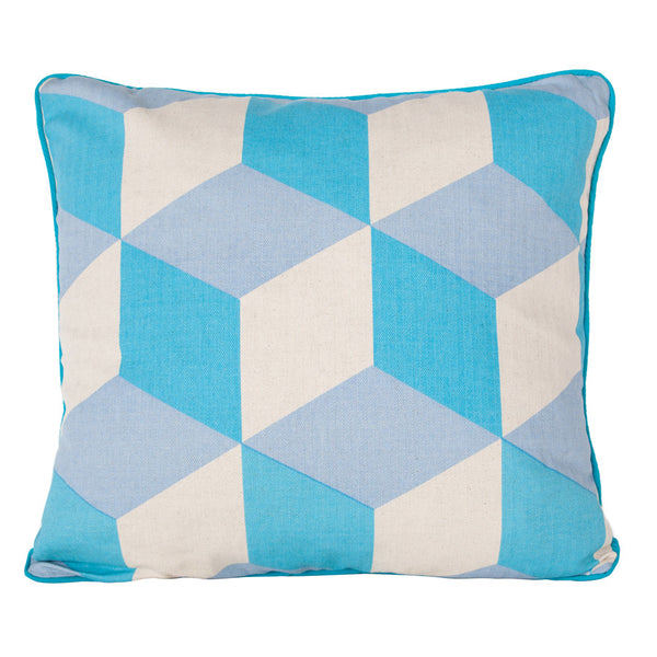 Turquoise Cubes Cushion by Korla available at GalapagosDesigns.com