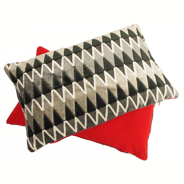 Cushions by Galapagos made with Lerwick Liquorice Jacquard Velvet and red fabric on the back - available at GalapagosDesigns.com