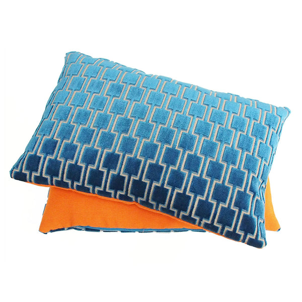 Cushion by Galapagos made with Bakerloo Kingfisher teal Velvet, available at GalapagosDesigns.com